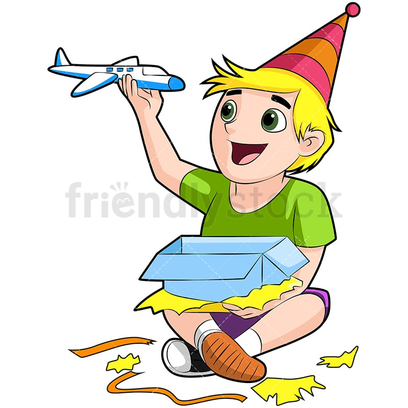Birthday Boy Opening His Gift Cartoon Vector Clipart Friendlystock
