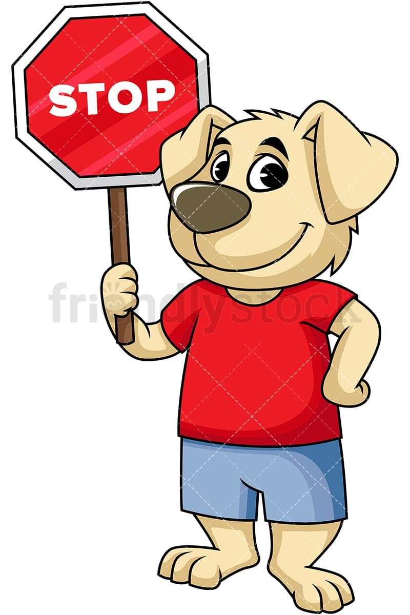 Dog Mascot Holding Stop Sign Cartoon Vector Clipart Friendlystock