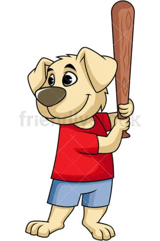 Dog cartoon character swinging baseball bat. PNG - JPG and vector EPS (infinitely scalable). Image isolated on transparent background.