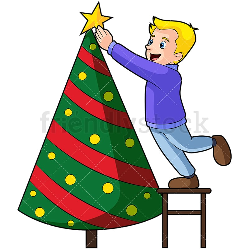Little kid decorating christmas tree. PNG - JPG and vector EPS (infinitely scalable)