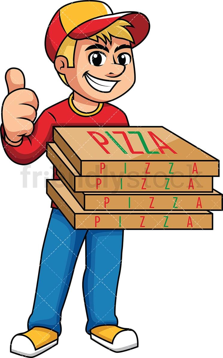 pizza delivery man thumbs up cartoon vector clipart friendlystock