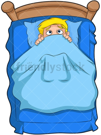 Scared kid in bed. PNG - JPG and vector EPS (infinitely scalable). Image isolated on transparent background.