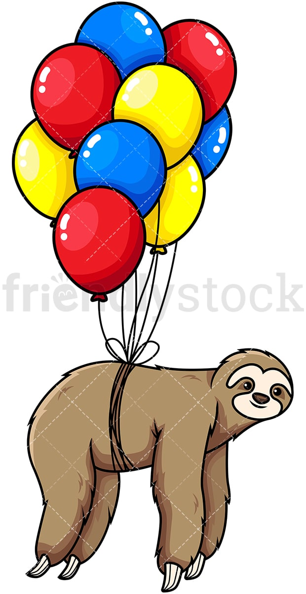 Sloth Flying With Balloons Cartoon Vector Clipart FriendlyStock