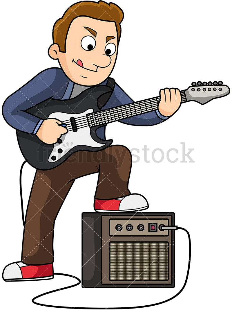 Male Electric Guitar Player Cartoon Vector Clipart Friendlystock
