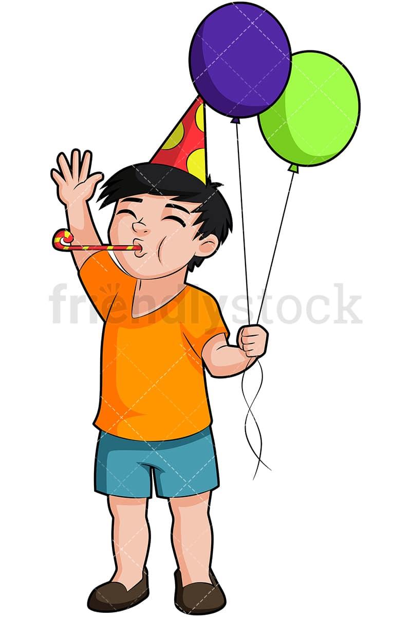 birthday boy blowing party horn cartoon vector clipart friendlystock