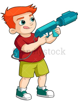 Boy playing with water gun. PNG - JPG and vector EPS (infinitely scalable). Image isolated on transparent background.