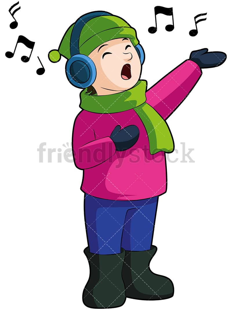 Religious Christmas Music Clipart.A Little Boy Singing Along To A Christmas Tune Playing On His Headphones