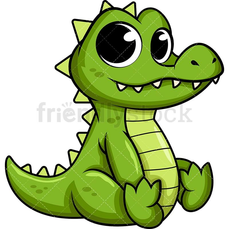 Cute Baby Alligator Cartoon Vector Clipart Friendlystock