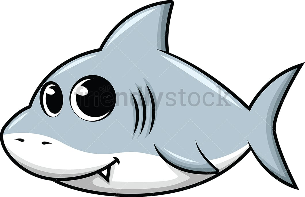 cute baby shark cartoon vector clipart friendlystock rh friendlystock com cute shark clipart black and white Cartoon Shark Clip Art