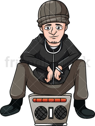 Man sitting on stereo. PNG - JPG and vector EPS (infinitely scalable). Image isolated on transparent background.
