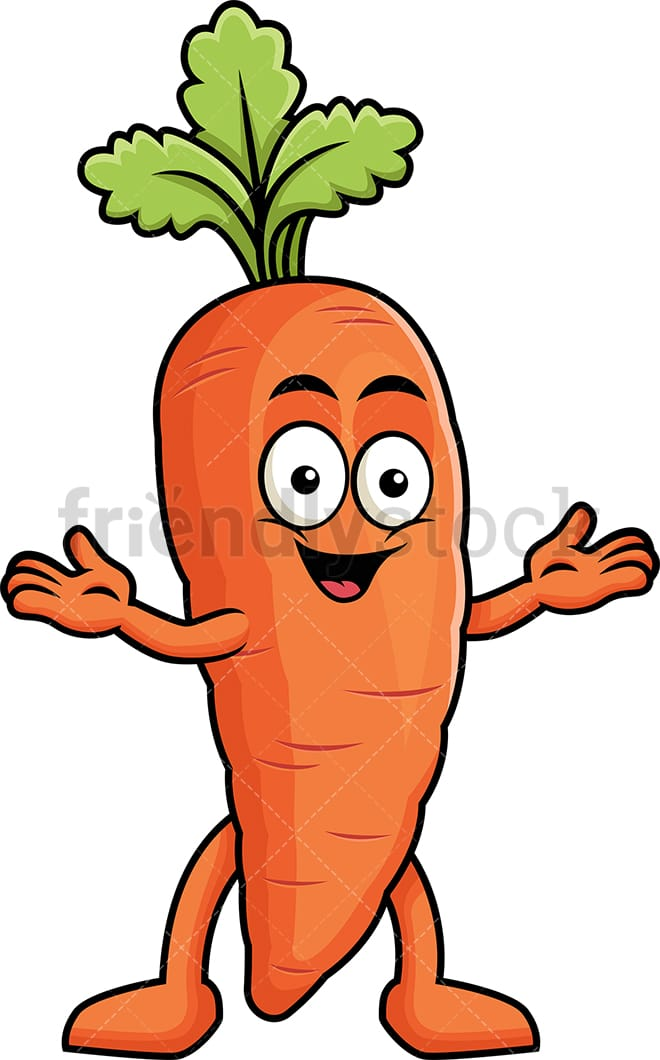 Happy Carrot Character Cartoon Vector Clipart Friendlystock