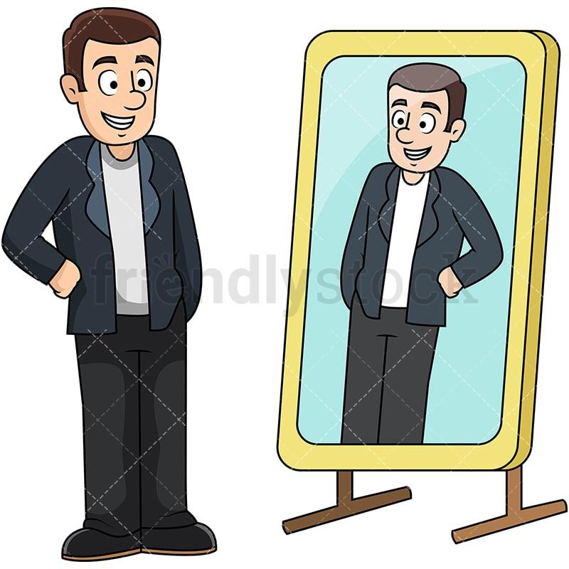 man looking in mirror cartoon vector clipart friendlystock