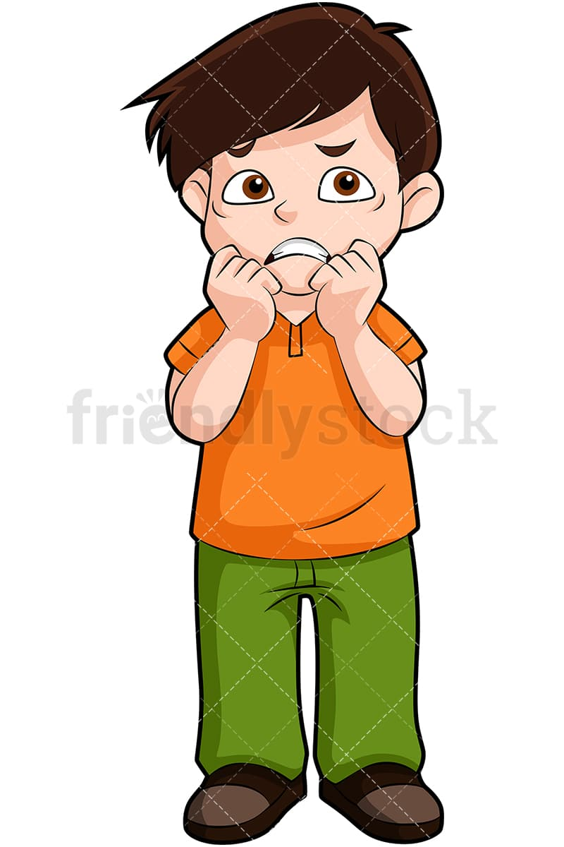An Anxious Little Boy Standing Up, Biting His Nails With Both Hands