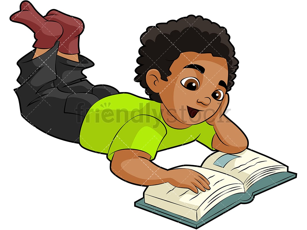 black kid reading for school cartoon vector clipart - friendlystock