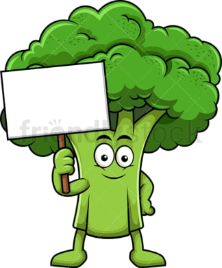 Broccoli cartoon character holding blank sign. PNG - JPG and vector EPS (infinitely scalable). Image isolated on transparent background.
