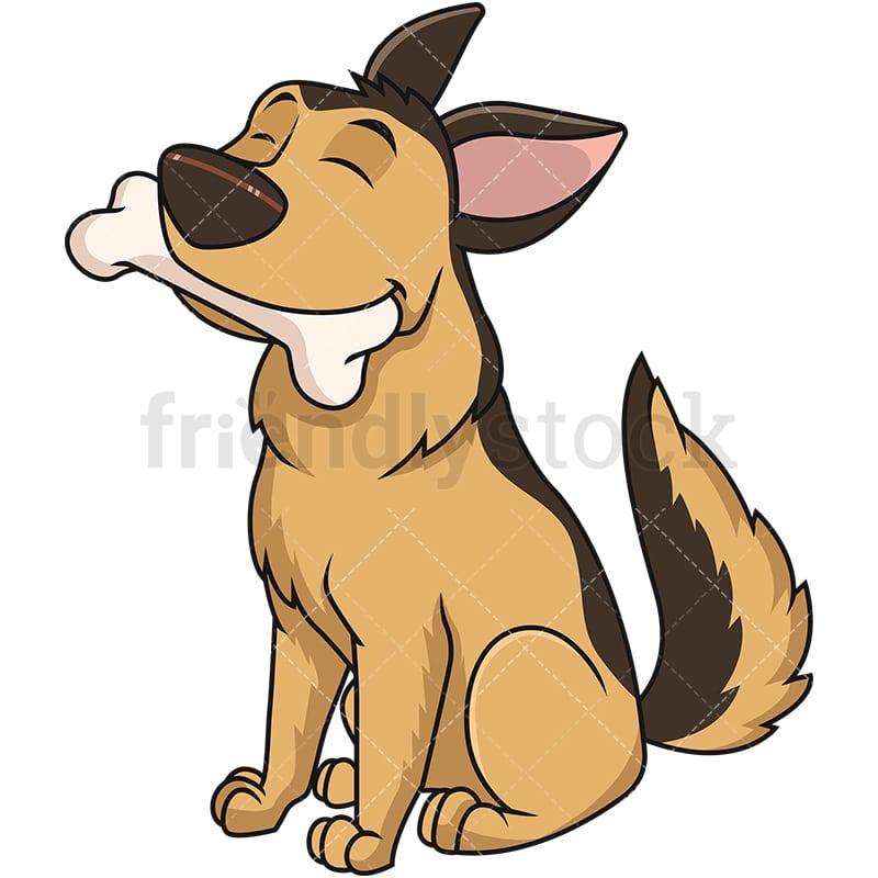 German Shepherd Dog Fetching Bone Cartoon Vector Clipart Friendlystock