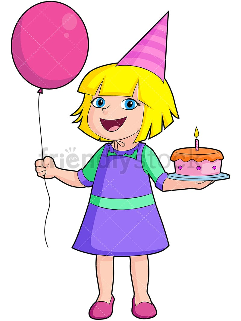 Happy Birthday Girl Cartoon Vector Clipart - FriendlyStock