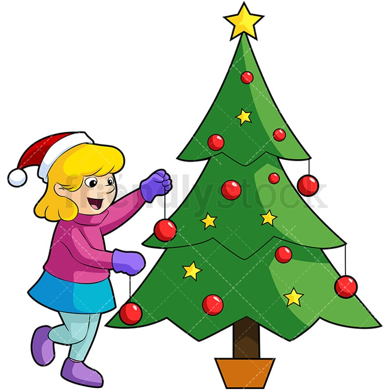 little girl decorating christmas tree cartoon vector clipart friendlystock little girl decorating christmas tree cartoon vector clipart friendlystock