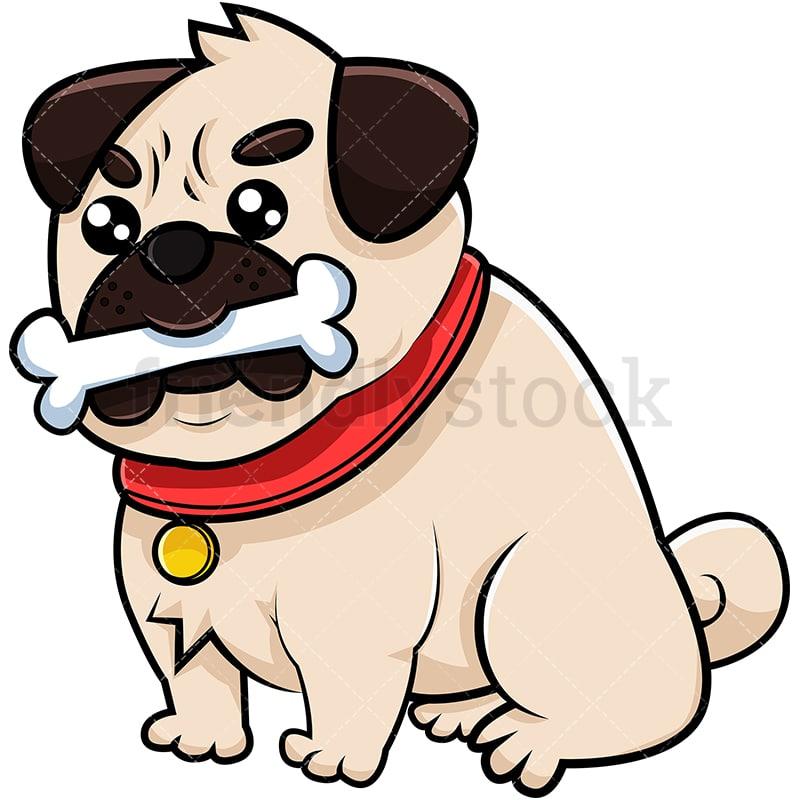 Pug Dog With Bone Cartoon Vector Clipart Friendlystock