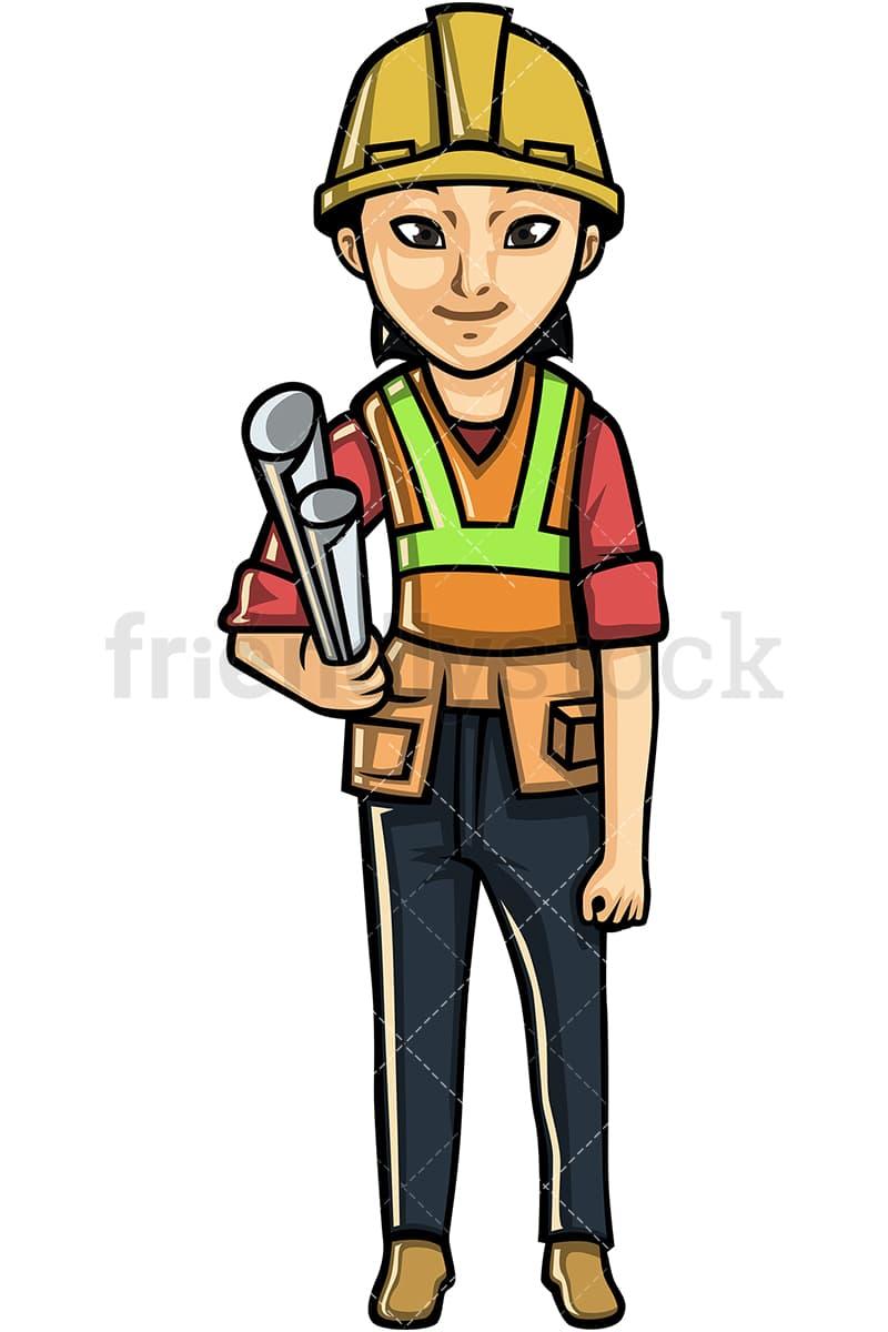 asian woman engineer cartoon vector clipart - friendlystock