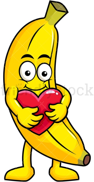 Banana cartoon character hugging heart icon. PNG - JPG and vector EPS (infinitely scalable). Image isolated on transparent background.