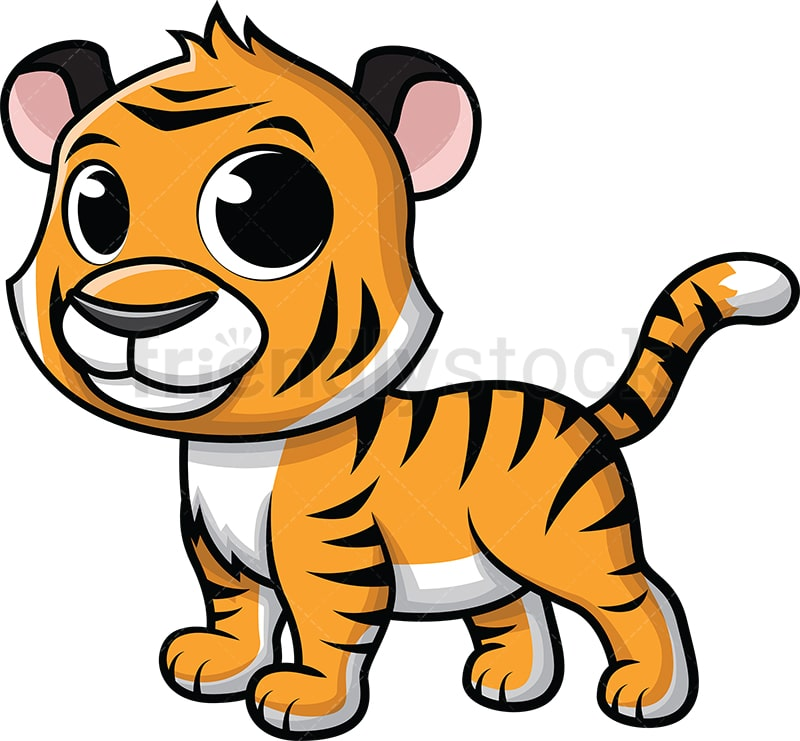 Cute Baby Tiger Cartoon Vector Clipart Friendlystock