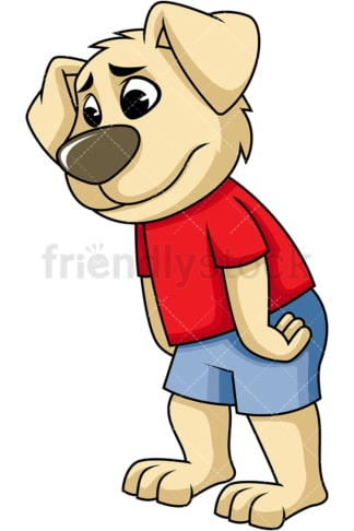 Dissapointed dog cartoon character. PNG - JPG and vector EPS (infinitely scalable). Image isolated on transparent background.