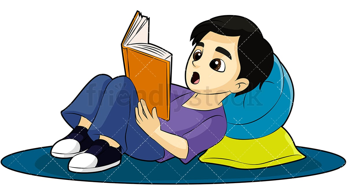 little boy reading a book cartoon vector clipart friendlystock