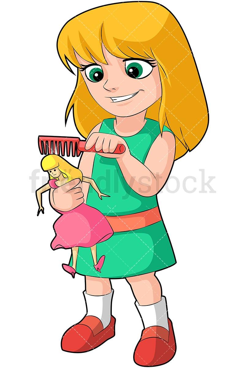 Little Girl Combing Her Doll S Hair Cartoon Vector Clipart