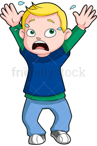 Nervous little kid. PNG - JPG and vector EPS (infinitely scalable). Image isolated on transparent background.