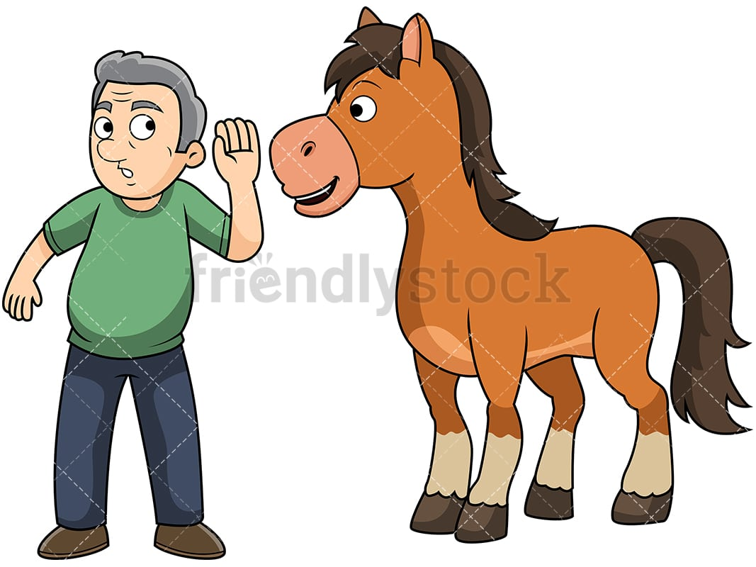 Old Man Hearing It Straight From The Horse S Mouth Clipart Friendlystock