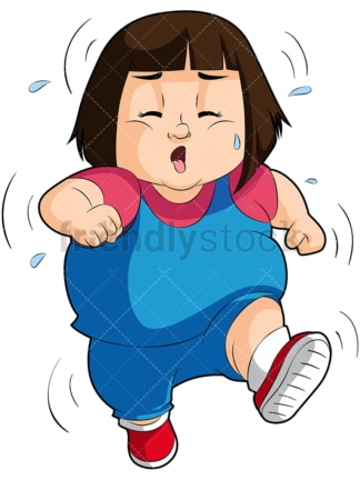 Fat little girl exercising. PNG - JPG and vector EPS file formats (infinitely scalable). Image isolated on transparent background.