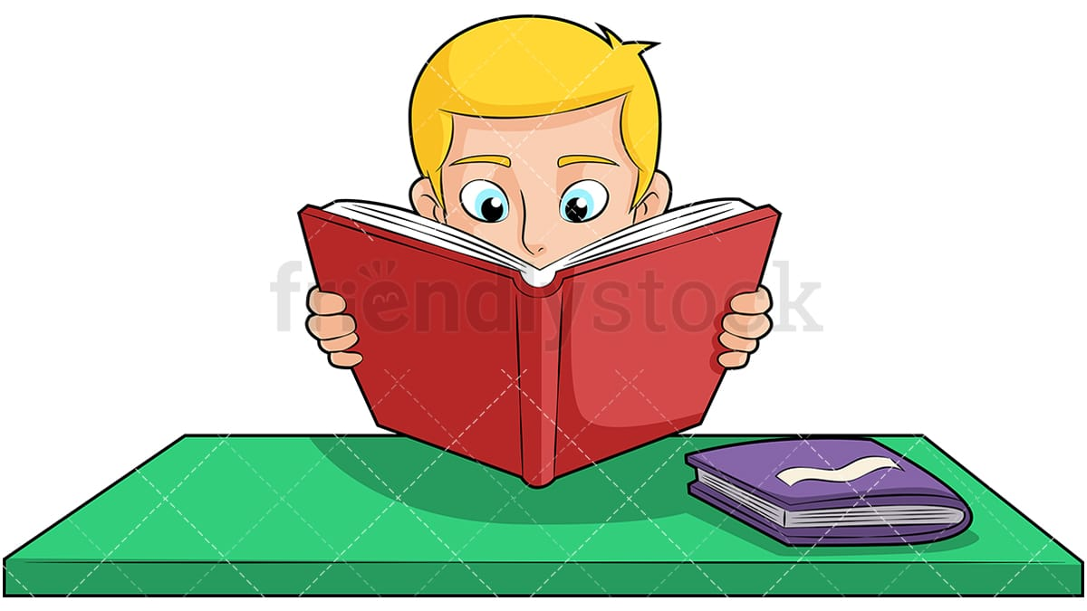 boy reading book studying hard cartoon vector clipart - friendlystock