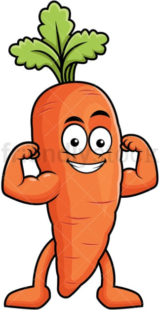 Carrot cartoon character flexing muscles. PNG - JPG and vector EPS (infinitely scalable). Image isolated on transparent background.