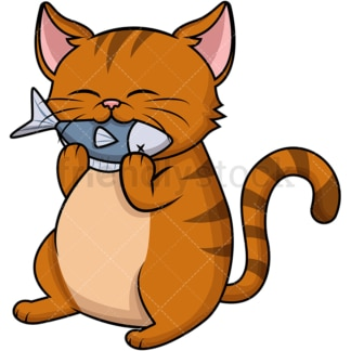 Cat eating fish. PNG - JPG and vector EPS (infinitely scalable). Image isolated on transparent background.