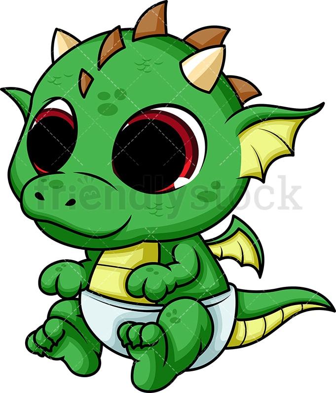 Cute Baby Dragon Cartoon Vector Clipart Friendlystock