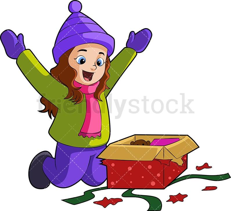 Little Girl Opening Christmas Gift Cartoon Vector Clipart Friendlystock