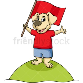 Cartoon character dog holding flag. PNG - JPG and vector EPS (infinitely scalable). Image isolated on transparent background.