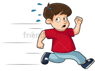 Scared little kid running away. PNG - JPG and vector EPS (infinitely scalable). Image isolated on transparent background.