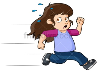 Scared little girl running away. PNG - JPG and vector EPS (infinitely scalable). Image isolated on transparent background.