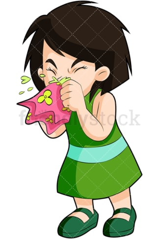 Sick little girl blowing nose. PNG - JPG and vector EPS (infinitely scalable). Image isolated on transparent background.