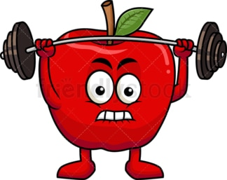 Apple cartoon character lifting weights. PNG - JPG and vector EPS (infinitely scalable). Image isolated on transparent background.