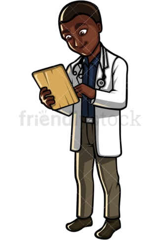 African American doctor. PNG - JPG and vector EPS file formats (infinitely scalable). Image isolated on transparent background.