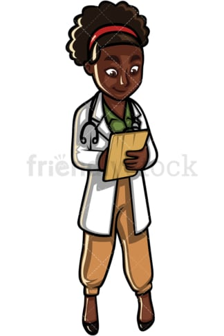 African American female doctor. PNG - JPG and vector EPS file formats (infinitely scalable). Image isolated on transparent background.