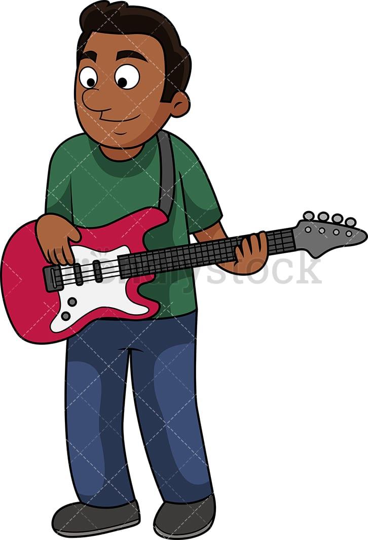 Black Man Playing The Bass Guitar