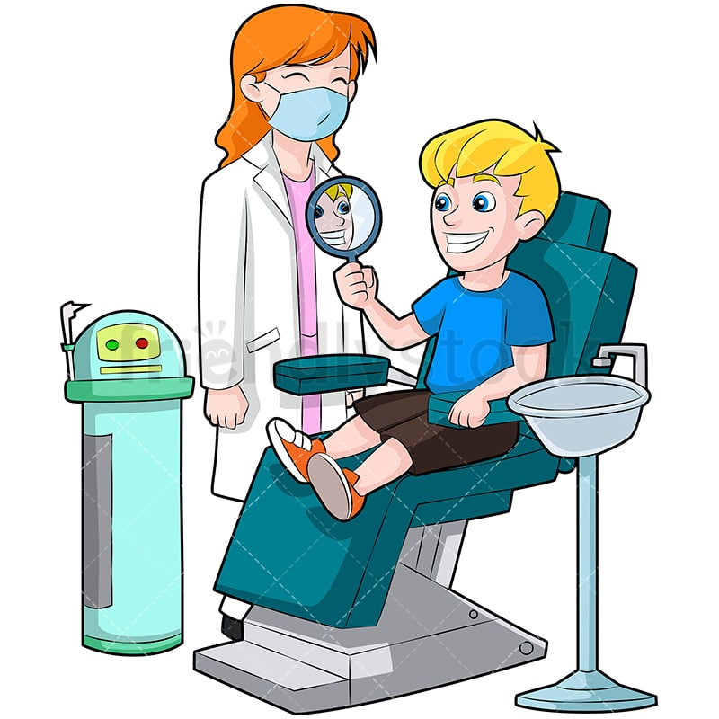 Swell A Little Boy In A Dentist Chair Looking At His Shiny Teeth In The Mirror Andrewgaddart Wooden Chair Designs For Living Room Andrewgaddartcom