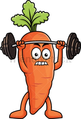 Carrot cartoon character lifting weights. PNG - JPG and vector EPS (infinitely scalable). Image isolated on transparent background.