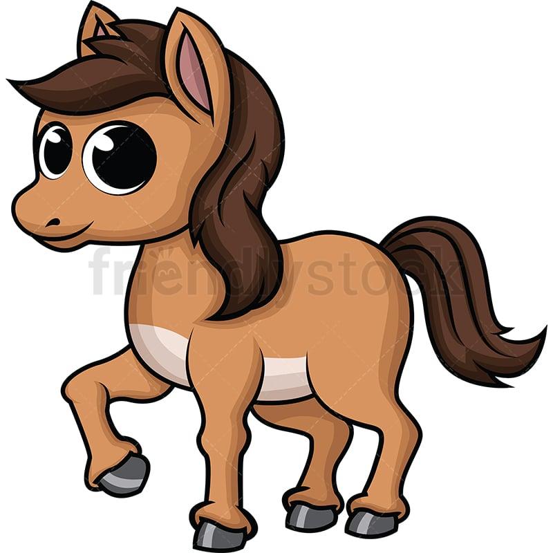 Cute Baby Horse Cartoon Vector Clipart Friendlystock