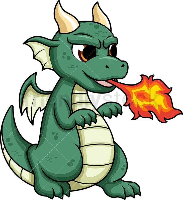 cute dragon breathing fire cartoon vector clipart friendlystock