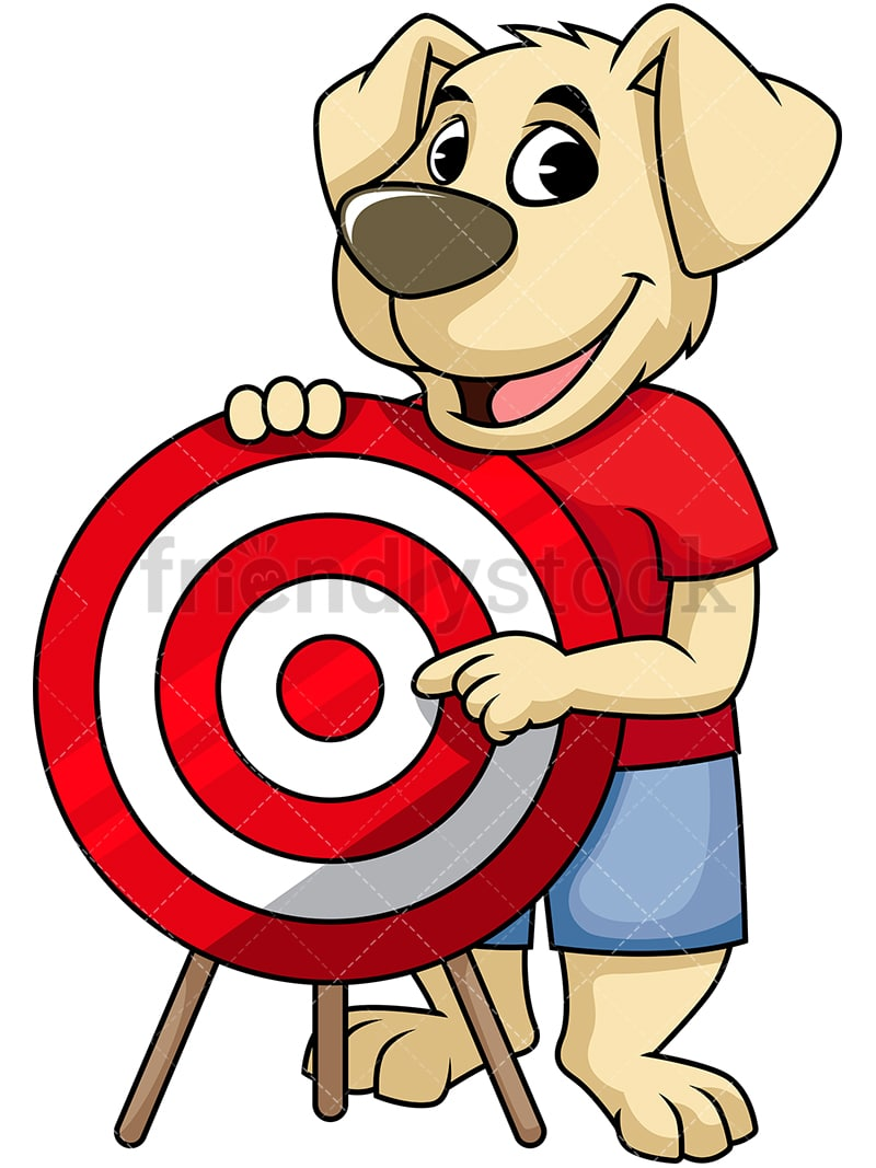 Dog Cartoon Character Pointing At Red Target PNG